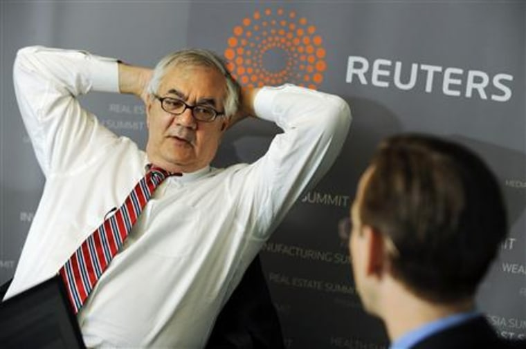 U.S. Representative Frank answers reporters' questions during the Reuters Global Financial Regulation Summit in Washington