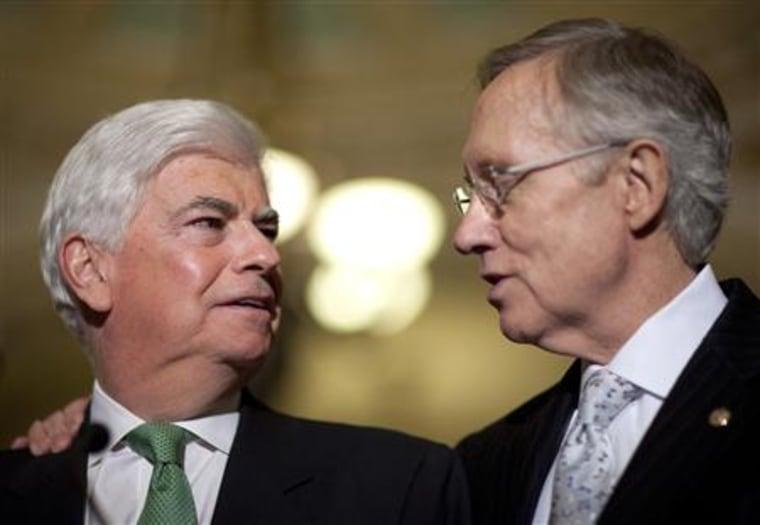 Senator Dodd speaks with Senate Majority Leader Reid in Washington