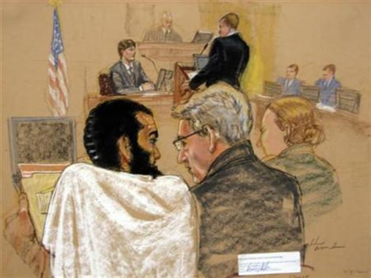 Courtoom sketch of Canadian defendant Khadr in Cuba