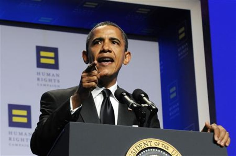 Obama makes a point as he delivers remarks at the Human Rights Campaign's annual dinner in Washington