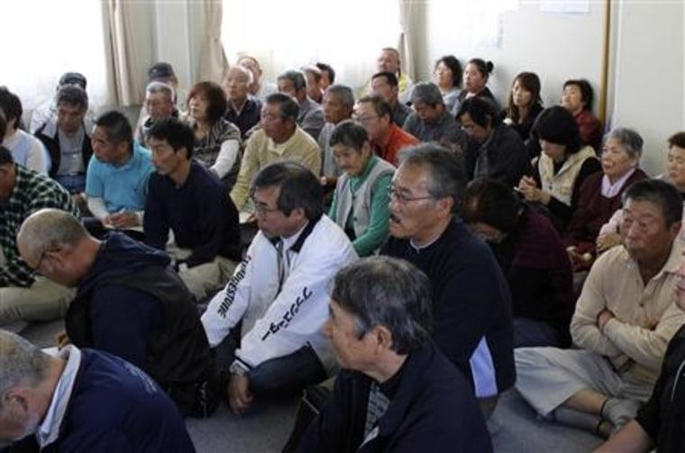 Evacuees who fled from Namie town near the tsunami-crippled Fukushima Daiichi nuclear power plant
