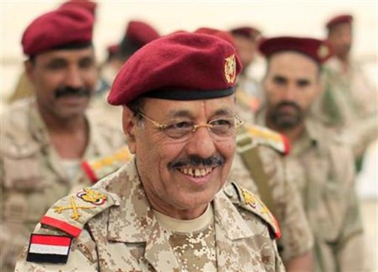 General Ali Mohsen, commander of Yemen's northwest military zone, is seen at his base in Sanaa
