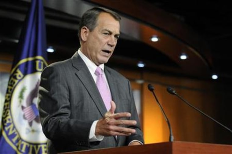 Boehner speaks during a news conference at the Capitol in Washington