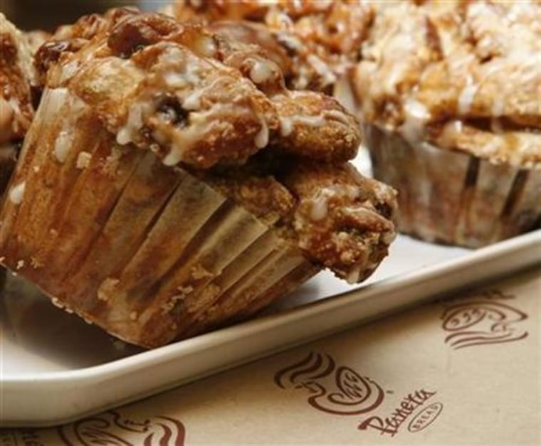 A muffin on display at a Panera Bread Co restaurant in Chicago
