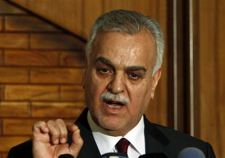 Iraq's vice presidential nominee Tareq al-Hashemi speaks at a news conference in Baghdad
