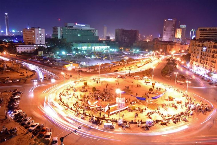 A view shows traffic at Tahrir Square in Cairo