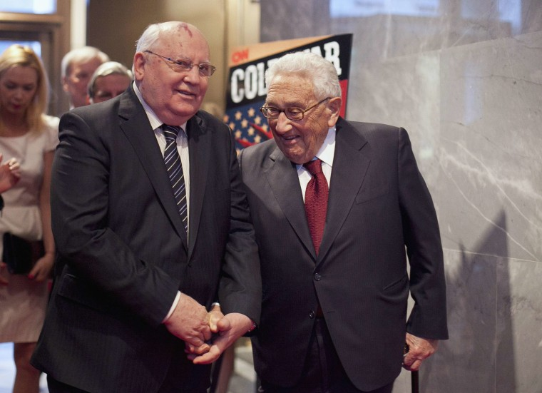 """Former Soviet Union President Gorbachev and former U.S. Secretary of State Kissinger attend a screening of """"Cold War"""" in New York"""
