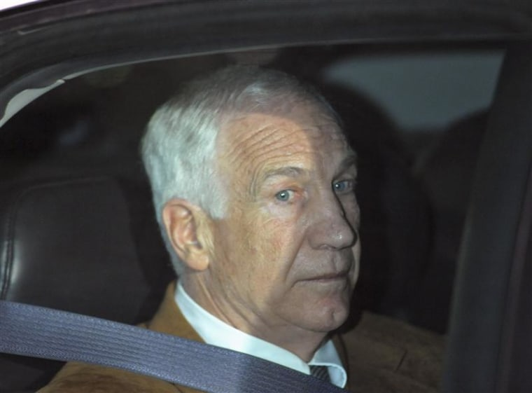 Former Penn State assistant football coach Sandusky leaves the Centre County Courthouse in Bellefonte