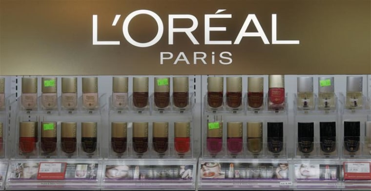 L'Oreal cosmetics are displayed in a shop in Riga