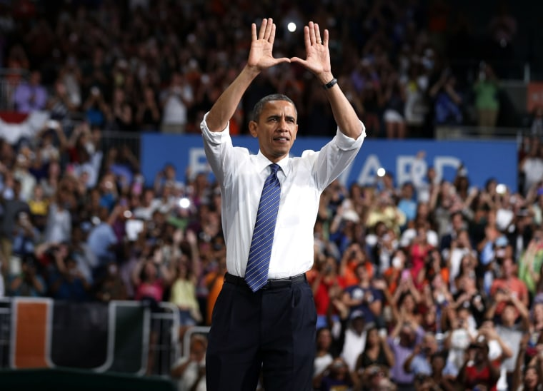 U.S. President Barack Obama greets students at a campaign event at the University of Miami in Florida