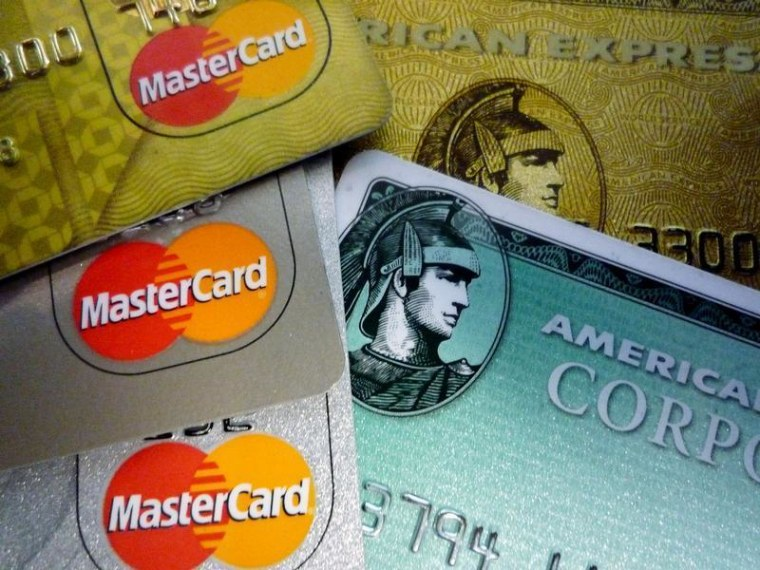 American Express and MasterCard credit cards are shown in Washington