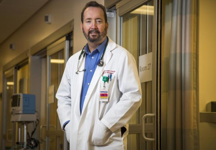 Dr. Weitz poses in the emergency room at St. John's Health Center in Santa Monica, California