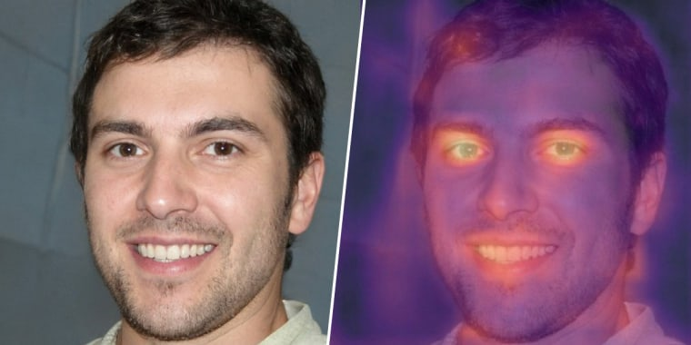 An image purporting to be of British student and freelance writer Oliver Taylor and a heat map of the same photograph produced by Tel Aviv-based deepfake detection company Cyabra.