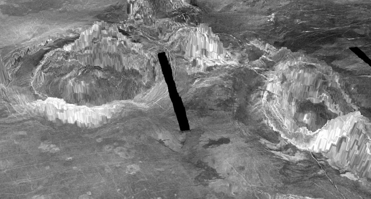 Image: Two coronae are observed on the surface of Venus in a 3-D rendition
