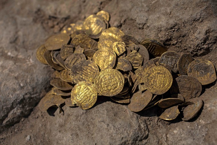 A hoard of gold coins dating to the Abbasid Caliphate was discovered at an archeological site near Tel Aviv.