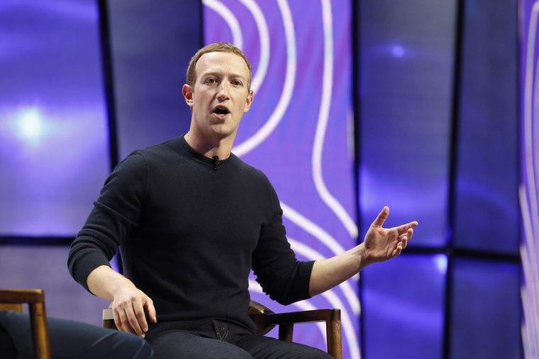 Image: Facebook chief executive Mark Zuckerberg speaks in Salt Lake City on Jan. 31, 2020.