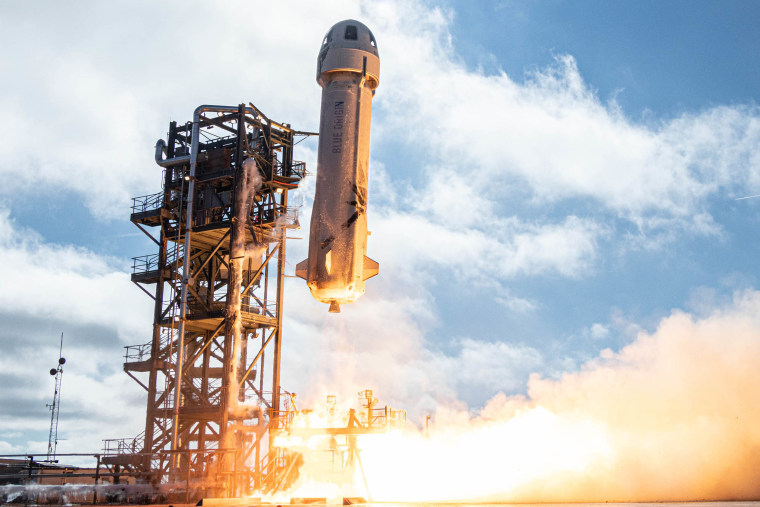 New Shepard lifts off on its 12th mission on Dec. 11, 2019.