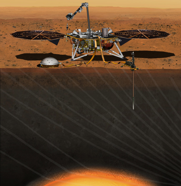 This artist's concept depicts NASA's InSight Mars lander fully deployed for studying the deep interior of Mars.