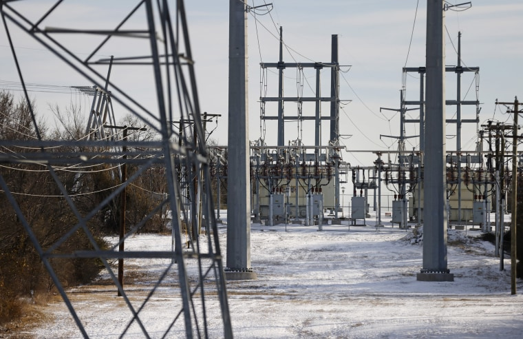 Image: Transmission towers and power lines lead to a substation after a snow storm on Feb. 16, 2021 in Fort Worth, Tx.