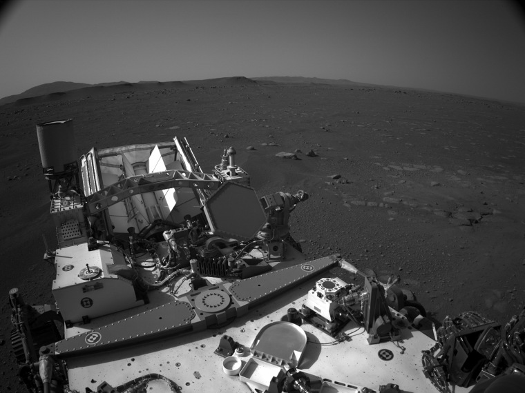 NASA's Mars Perseverance rover acquired this image using its onboard Right Navigation Camera (Navcam). The camera is located high on the rover's mast and aids in driving.