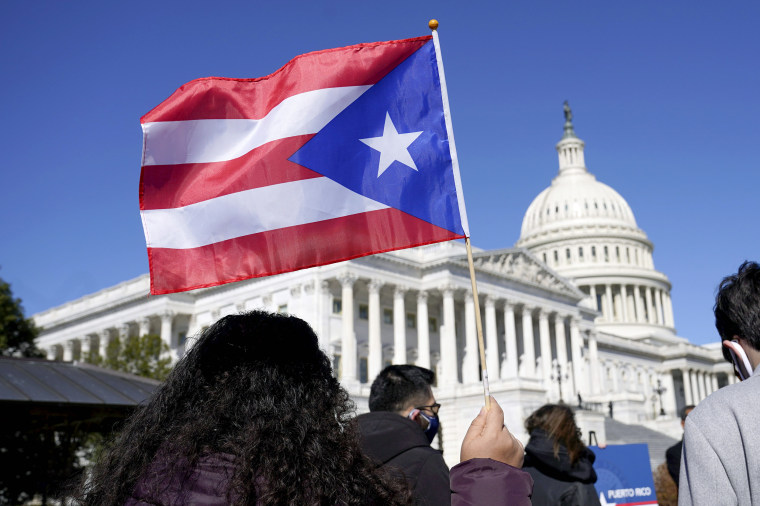 Image: A woman waves the flag of Puerto Rico during a news conference on Puerto Rican statehood on Capitol Hill on March 2, 2021.