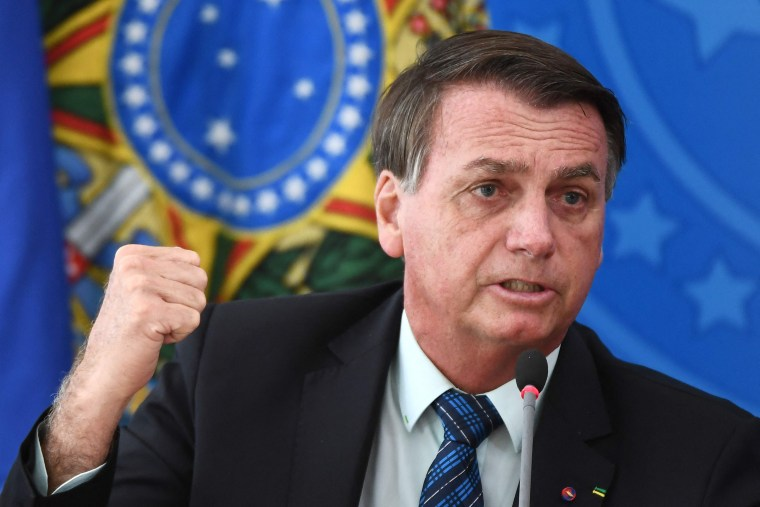 Brazilian President Jair Bolsonaro speaks at Planalto Palace in Brasilia.