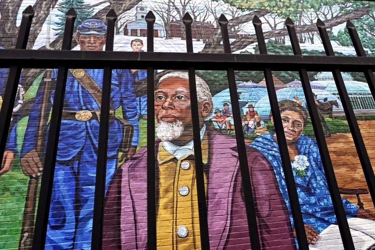 Image: Past Amherst, Mass., area residents Henry Jackson, center, Lt. Frazar Stearns, left, and Anna Reed Goodwin, right, are featured on the Amherst Community History Mural, as seen through the adjacent West Cemetery fence, Friday, Jan. 15, 2021, in Amherst, Mass.