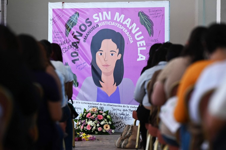 Feminist collective members watch the court hearing for the case of Manuela, a Salvadoran woman sentenced to 30 years in prison for a precipitous out-of-hospital birth that was classified as aggravated homicide, in San Salvador, on March 10, 2021.