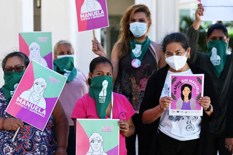 Feminist collective members gather before the screening of the court hearing for the case of Manuela, a Salvadoran woman sentenced to 30 years in prison for a precipitous out-of-hospital birth that was classified as aggravated homicide, in San Salvador, on March 10, 2021.