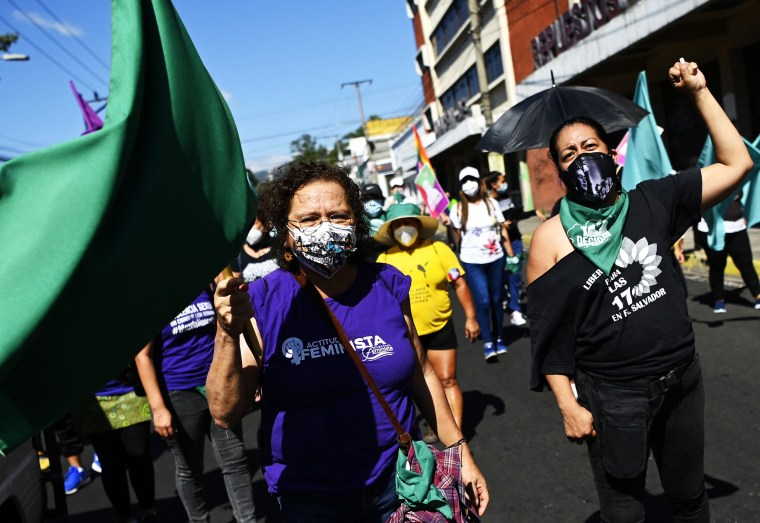 Former guerrilla member and feminist leader Morena Herrera attends a demonstration on the eve of the commemoration of International Women's Day in San Salvador on March 7, 2021.