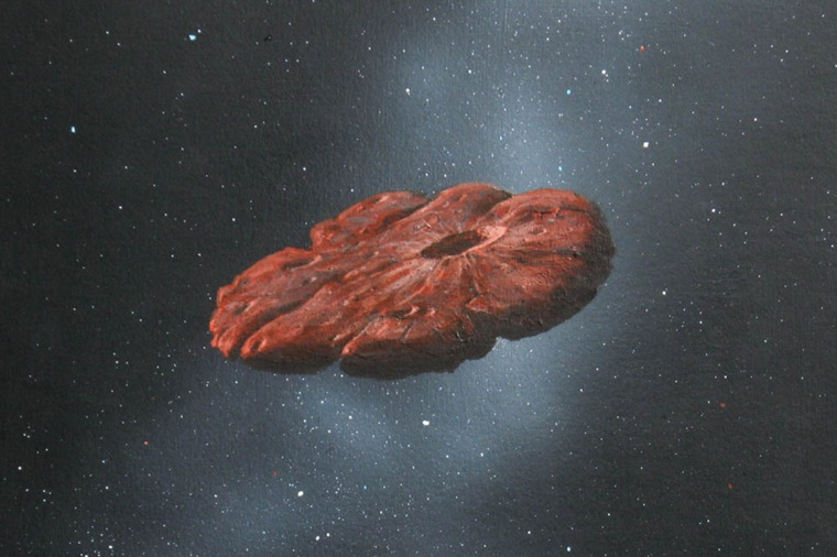 An artistic depiction of the Oumuamua interstellar object as a pancake-shaped disk. A study published in March 2021 says the mystery object is likely a remnant of a Pluto-like world and shaped like a cookie.