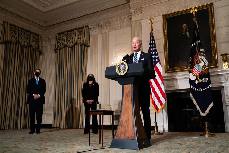 U.S. President Joe Biden speaks about climate change issues in the State Dining Room of the White House on January 27, 2021 in Washington, DC. President Biden signed several executive orders related to the climate change crisis on Wednesday, including one directing a pause on new oil and natural gas leases on public lands.