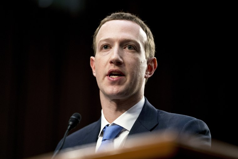 Mark Zuckerberg testifies before a joint hearing of the Commerce and Judiciary Committees on Capitol Hill on April 10, 2018.