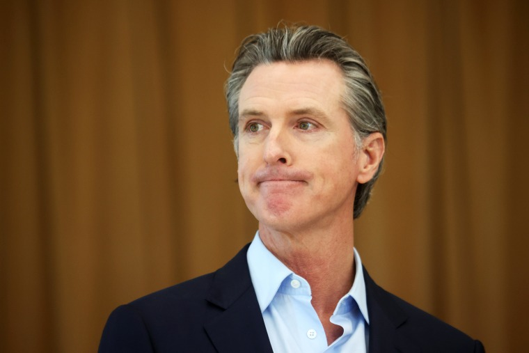California Gov. Gavin Newsom at a news conference on March 16, 2021.