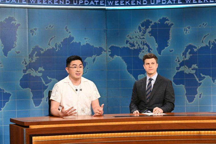 "Bowen Yang speaks during SNL's ""Weekend Update"" segment on March 27, 2021."
