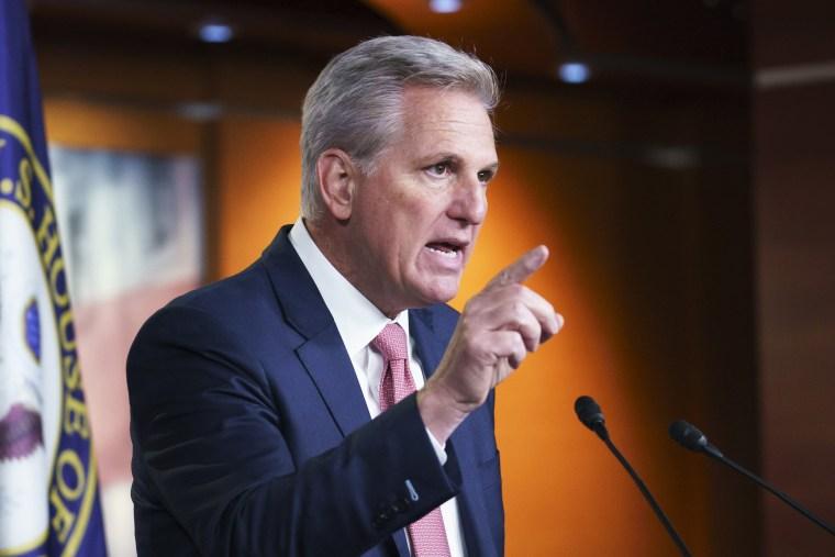 House Minority Leader Kevin McCarthy, R-Calif., speaks in Washington on March 18, 2021.