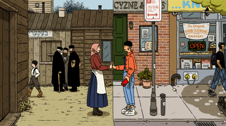Illustration of two Jewish people touching hands, the person on the left is in a historical setting and the person on the right is in a modern city. The modern person is holding a phone.