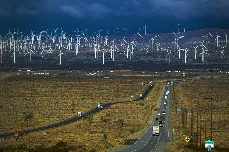 Image:; A view of wind turbines viewed from Highway 58.