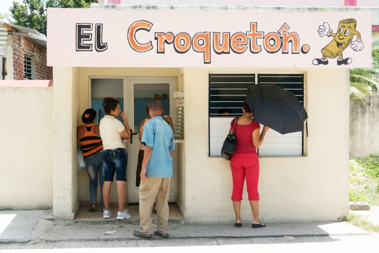 A Cuban establishment selling croquettes to the general public.