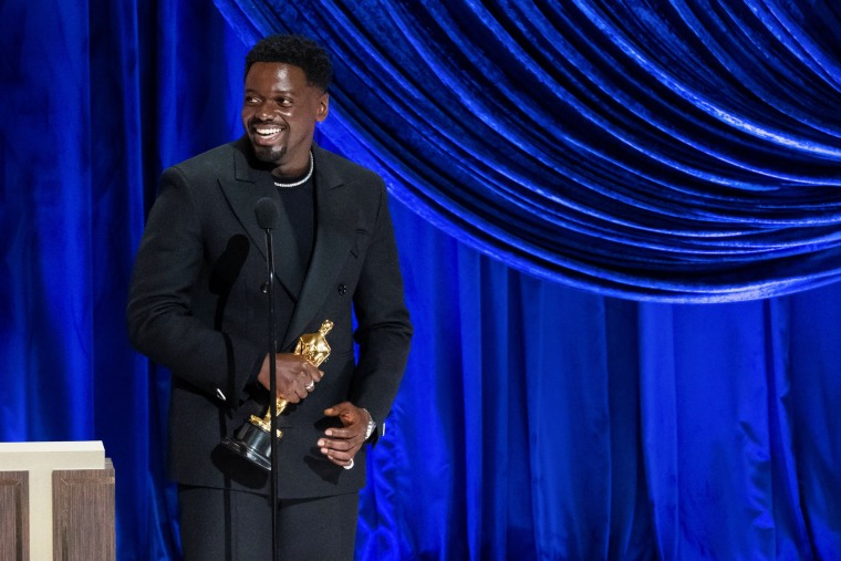 Daniel Kaluuya accepts the Oscar for best actor in a supporting role during the The 93rd Oscars in Los Angeles on April 25, 2021.
