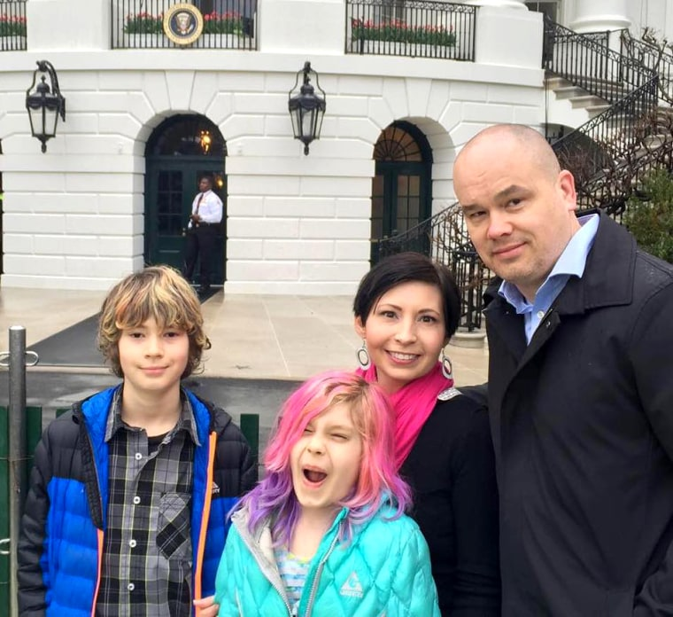 Missouri mother Debi Jackson with her family, including her transgender daughter Avery, at the White House.