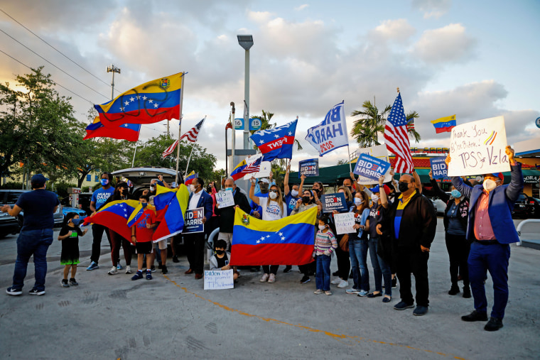 Venezuelans celebrate the granting of temporary protected status (TPS) by President Joe Biden in Miami on March 9.