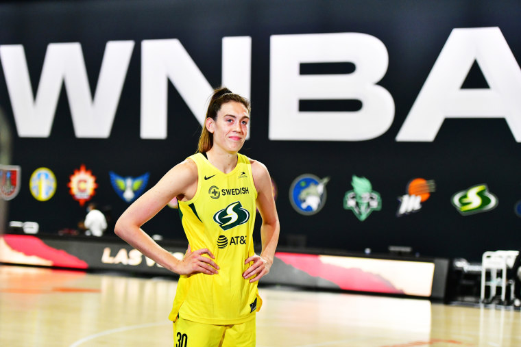 Seattle Storm's Breanna Stewart stands after a 93-80 win over the Las Vegas Aces following Game 1 of the WNBA Finals on Oct. 02, 2020 in Palmetto, Fla.
