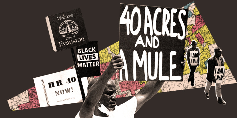 """Photo illustration: Person holding up a board that reads,"""" 40 acres and a mule"""", a board that reads, """"HR 40 NOW!"""", Black Lives Matter flag next to a """"Welcome"""" board for the City of Evanston against a redlining map of Atlanta, and civil rights demonstrators marching while wearing signs which say """"I Am A Man""""."""