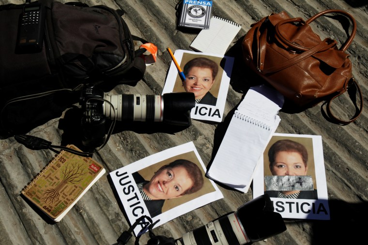 Cameras and notebooks of journalists are seen during a protest outside the attorney general's office against the murder of the Mexican journalist Miroslava Breach in Ciudad Juarez, Mexico, on March 25, 2017.