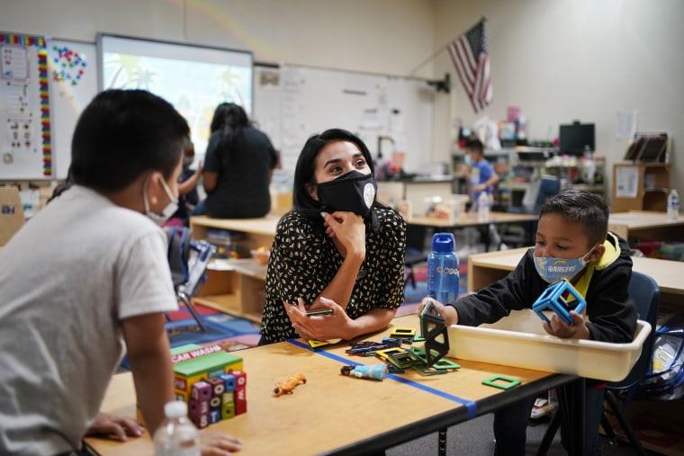 Teacher Juliana Urtubey in a class at Kermit R Booker Sr Elementary School Wednesday, May 5, 2021, in Las Vegas.