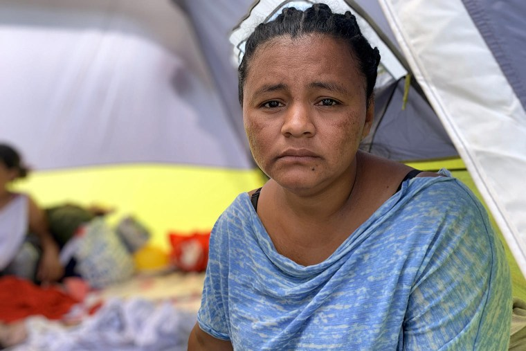 Yulissa Esquivel lives in a makeshift camp in a central plaza in Reynosa, in the Mexican state of Tamaulipas, just a few feet from the border.