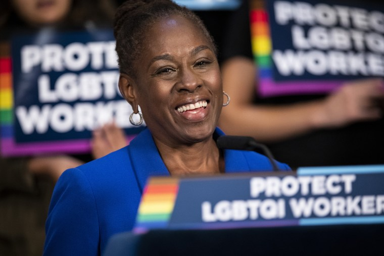 Image: First lady of New York City Chirlane McCray speaks as activists rally in support of LGBTQ rights at City Hall