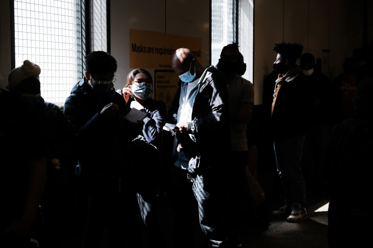 Image: People wait in line to get a Covd-19 vaccine at the Broadway Junction subway station in Brooklyn on May 12, 2021.