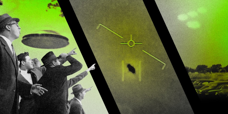 Illustration of photos showing alleged UFO sightings in the United States.